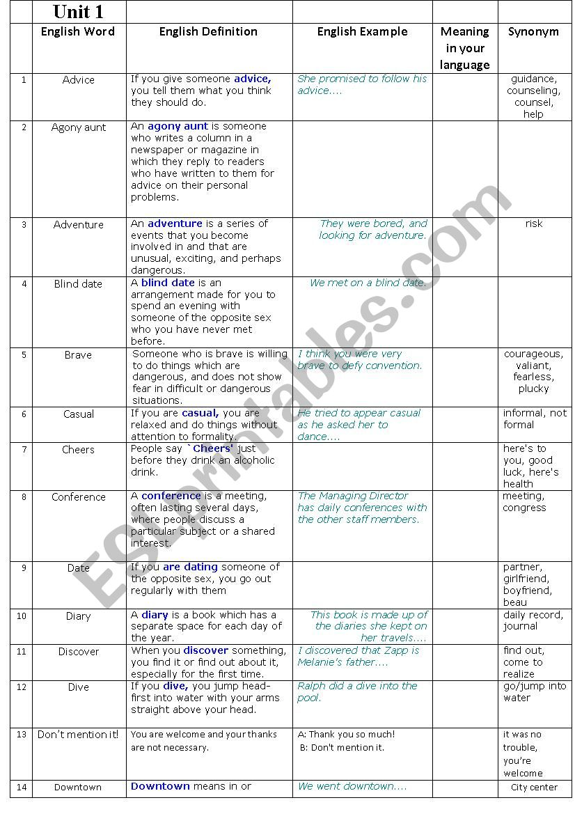 new headway 3rd edition pre-int unit 1 word list