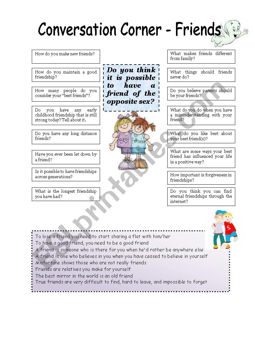 Conversation corner: Friends worksheet