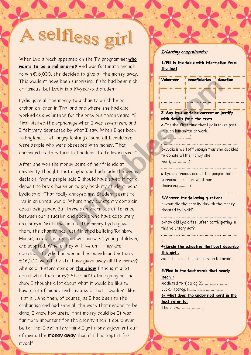 a selfless girl worksheet