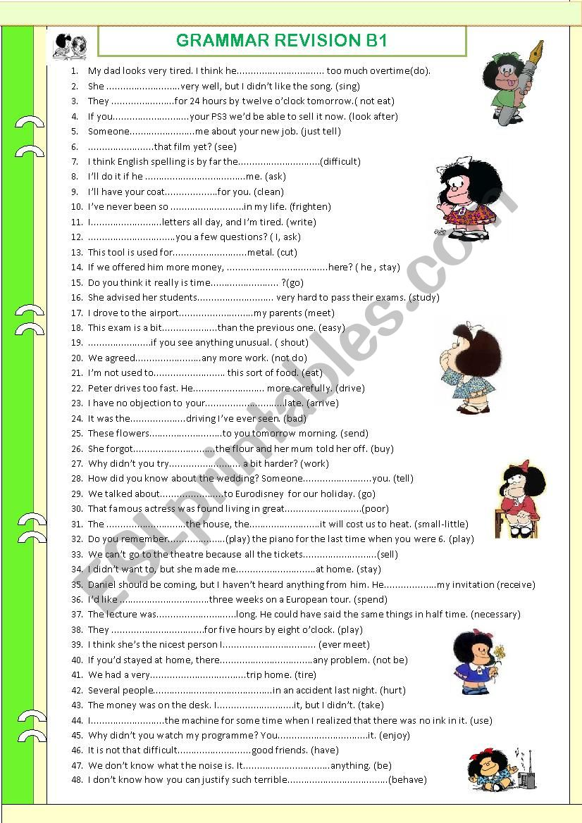 Review (B1). WITH KEY. Tenses. Word formation. Comparison etc