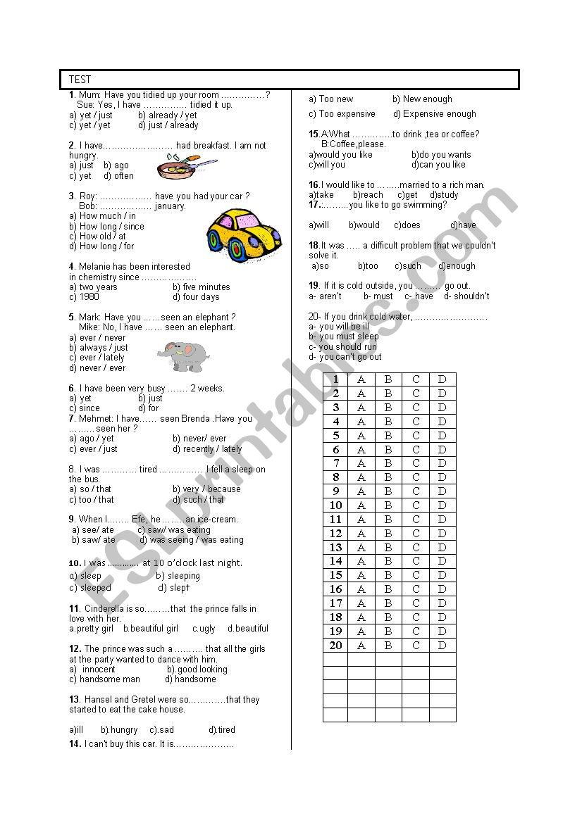8TH GRADE 2ND TEST 2ND TERM  worksheet
