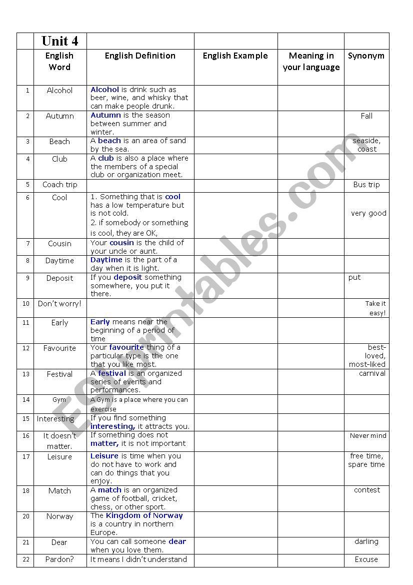 new headway 3rd edition elementary unit 3 word list