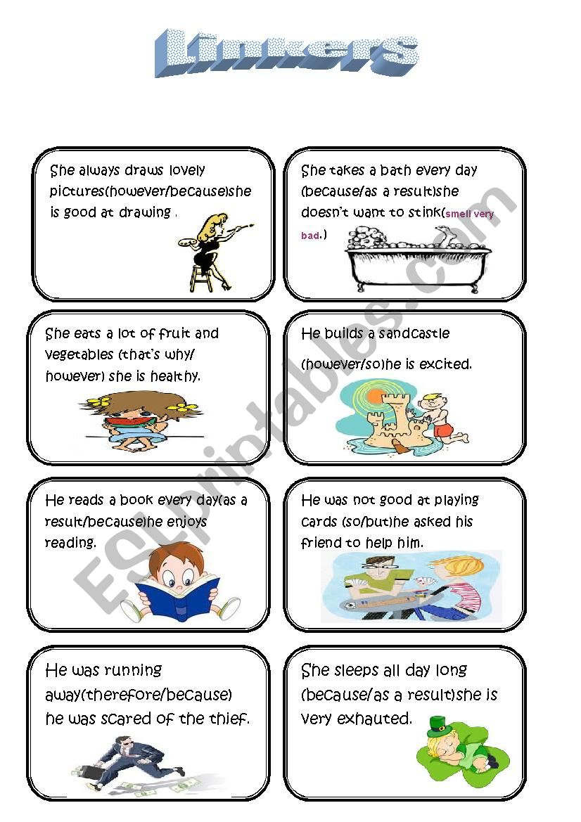 speaking cards (linkers/conjunctions) (part two)