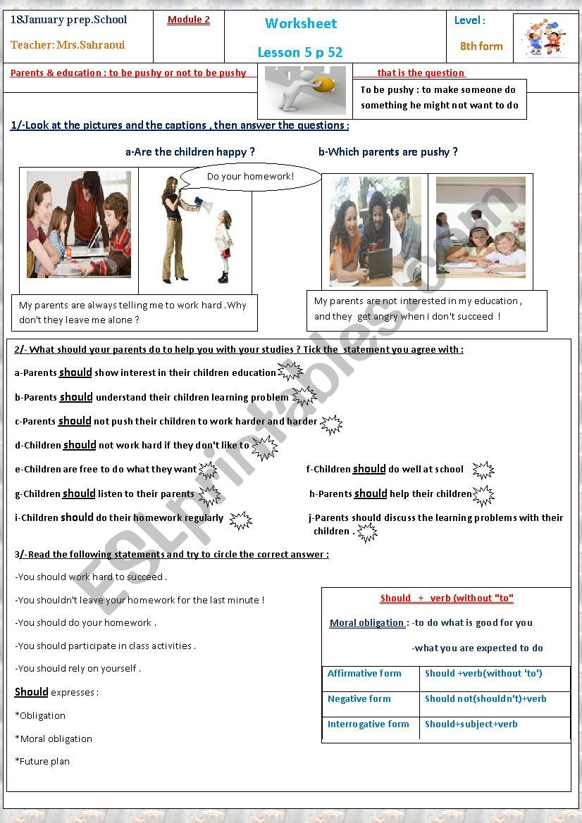 Parents and education  worksheet