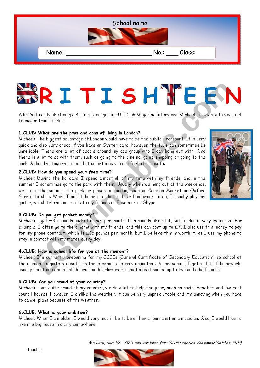 Test - British Teen worksheet