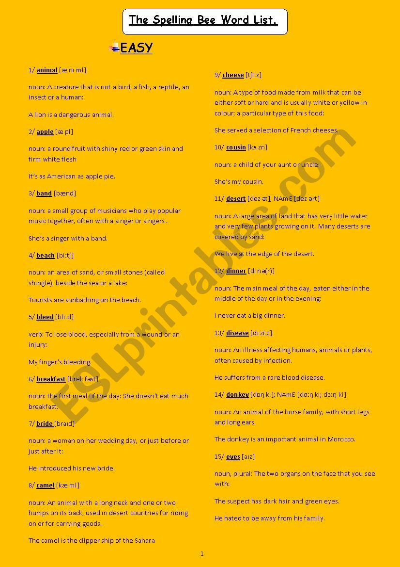 spelling bee word list worksheet