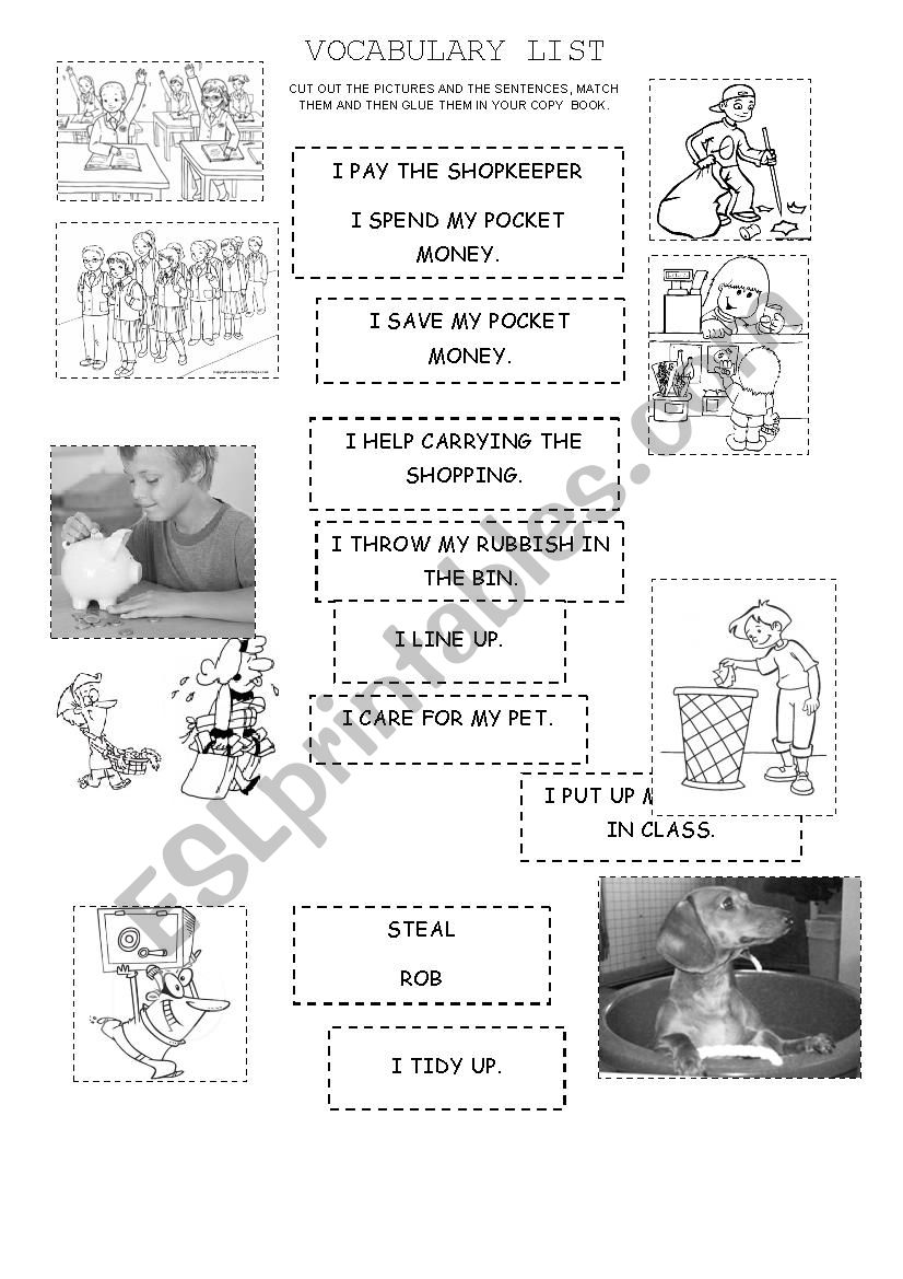 English Worksheets Good Citizen Vocabulary