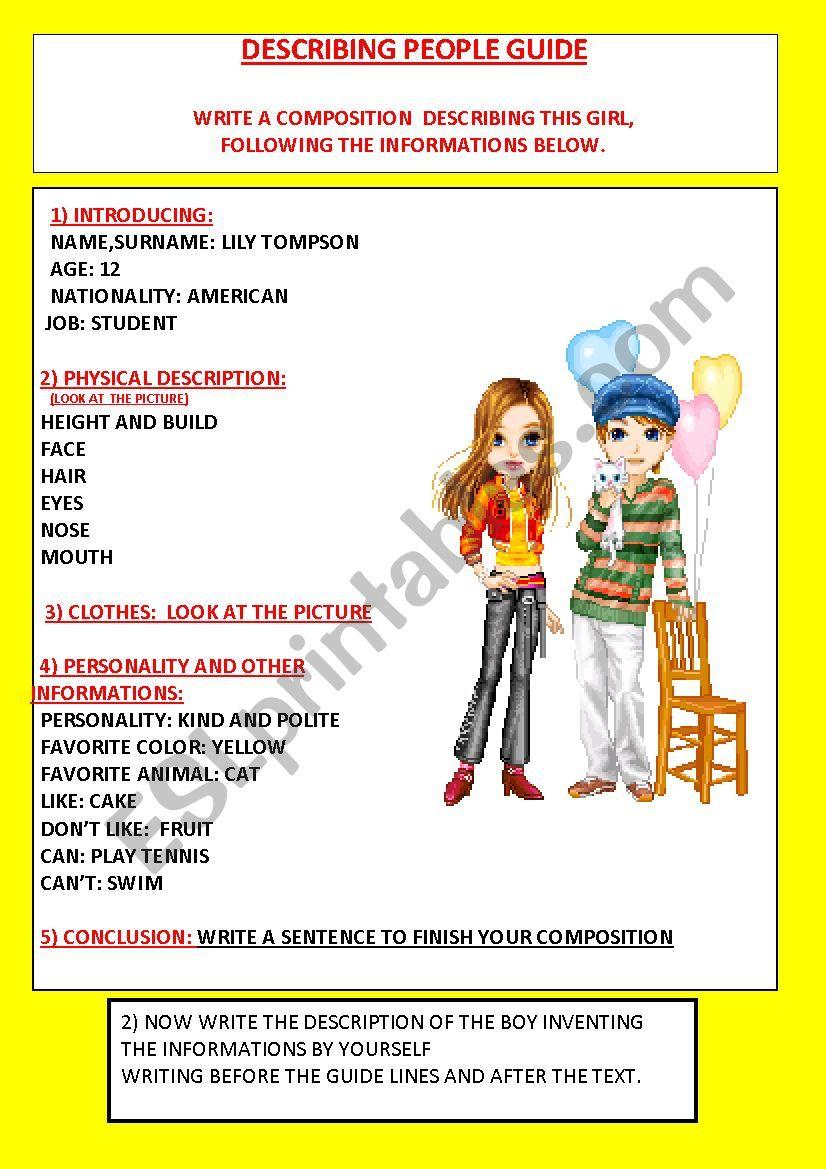 describing people guide lines worksheet