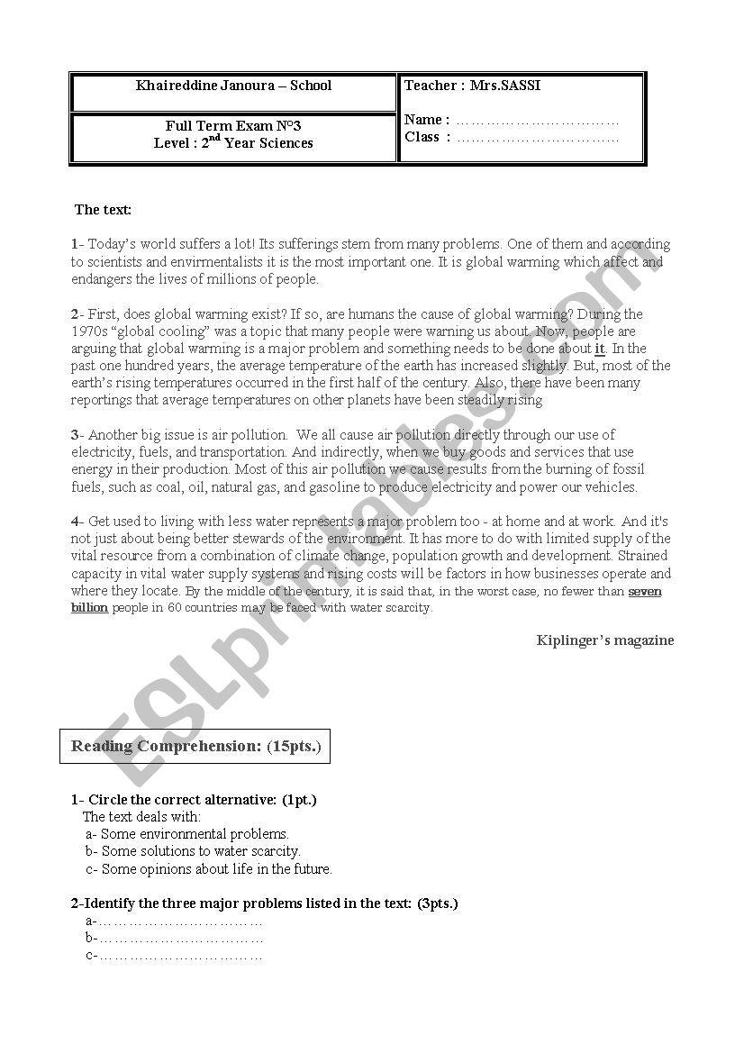 Devoir de synthese 2nd form - ESL worksheet by Wasima
