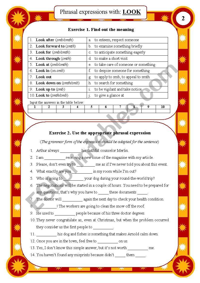 Phrasal expressions 02 - look worksheet