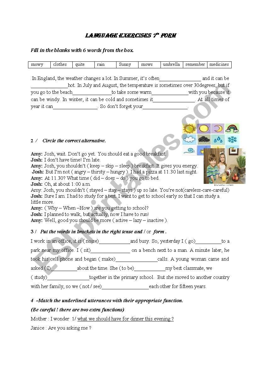 language 7th form worksheet