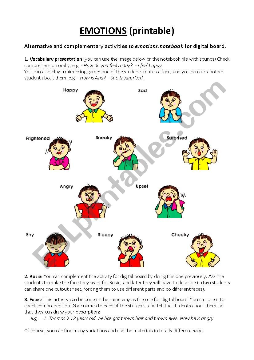 English Worksheets Emotions