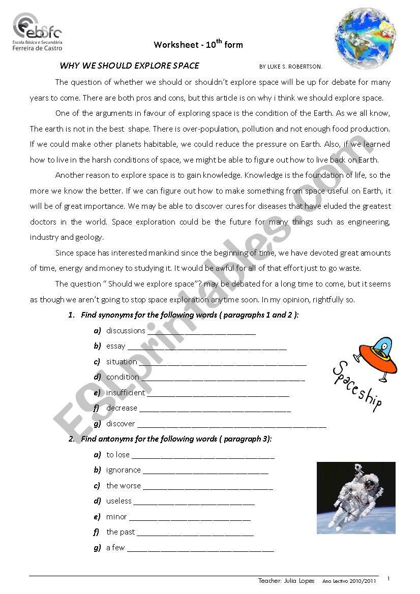 Space exploration worksheet