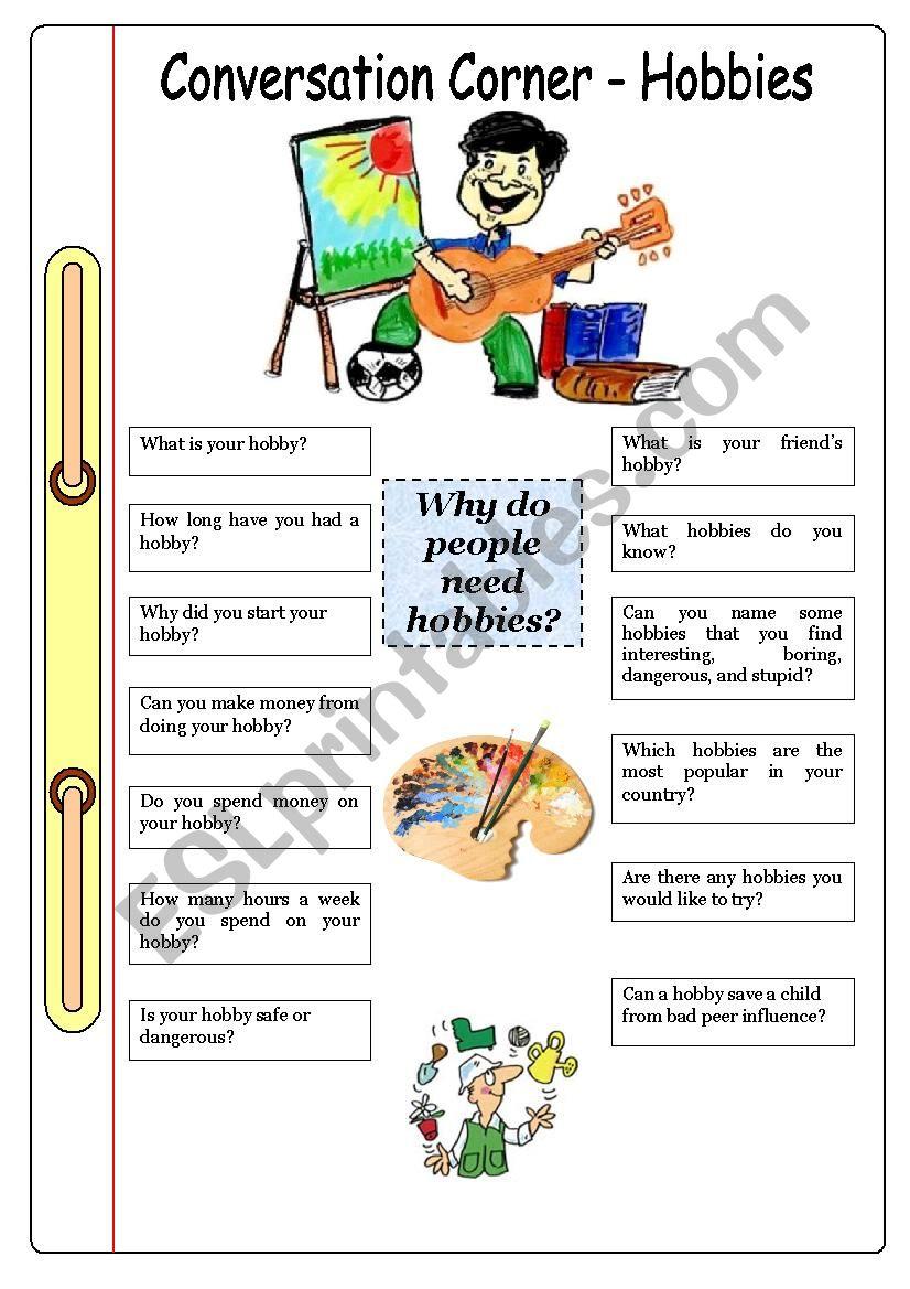 Conversation Corner: Hobbies worksheet
