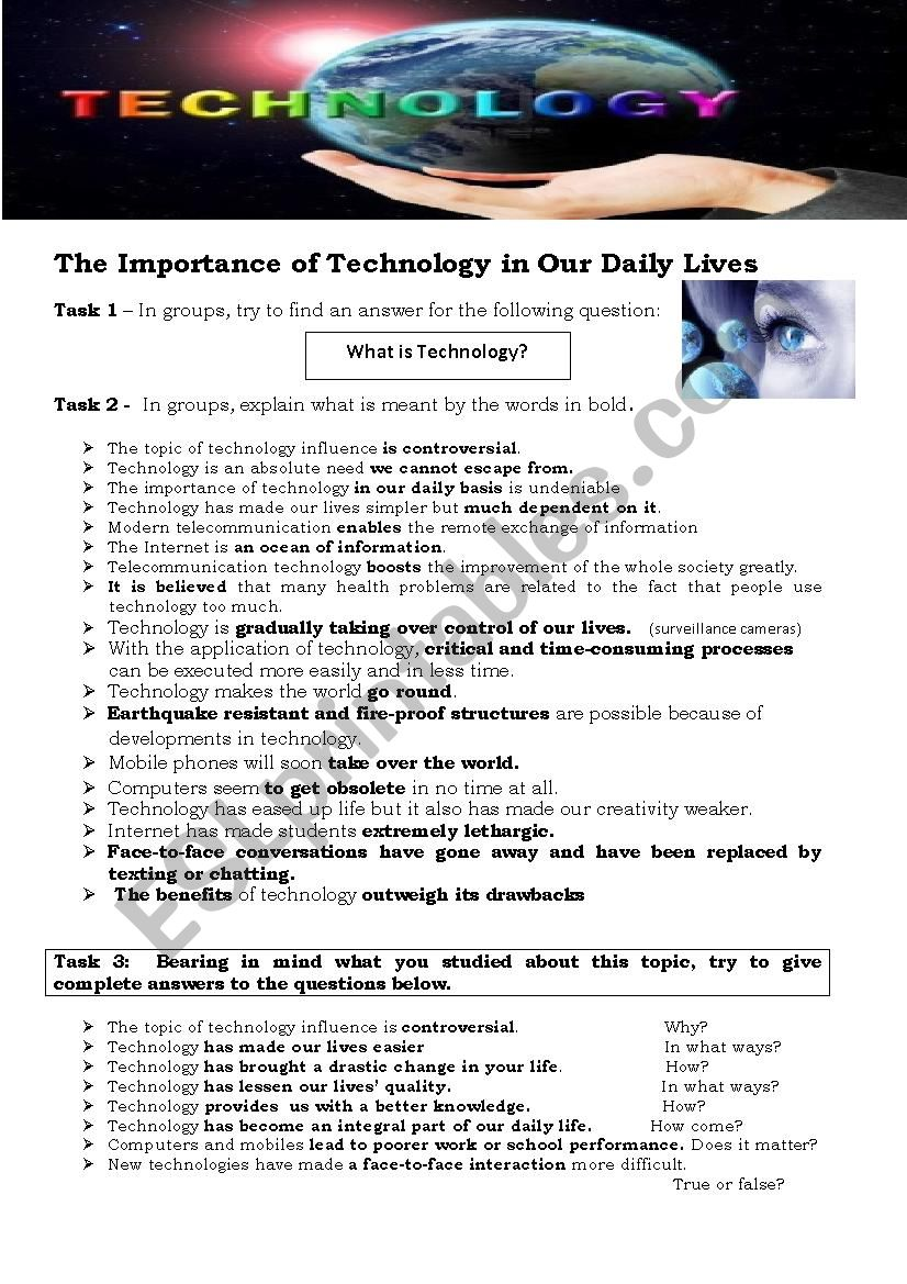 NEW TECHNOLOGIES - How important they are in our lives