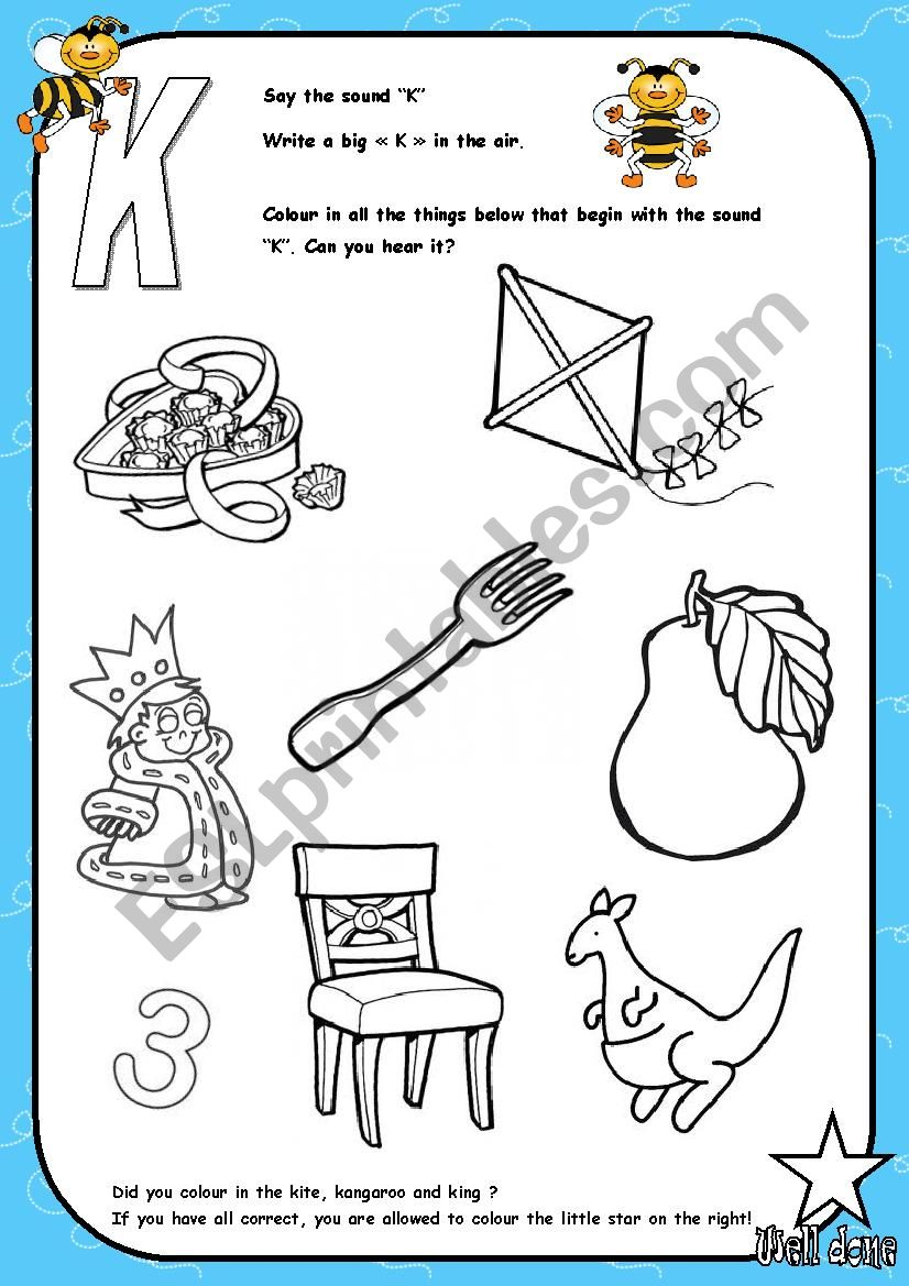Things With Letter K.Alphabet Letter K Activity Esl Worksheet By Saramariam