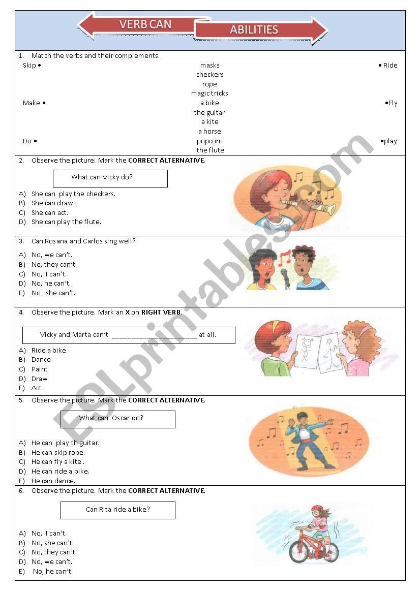 Verb Can worksheet