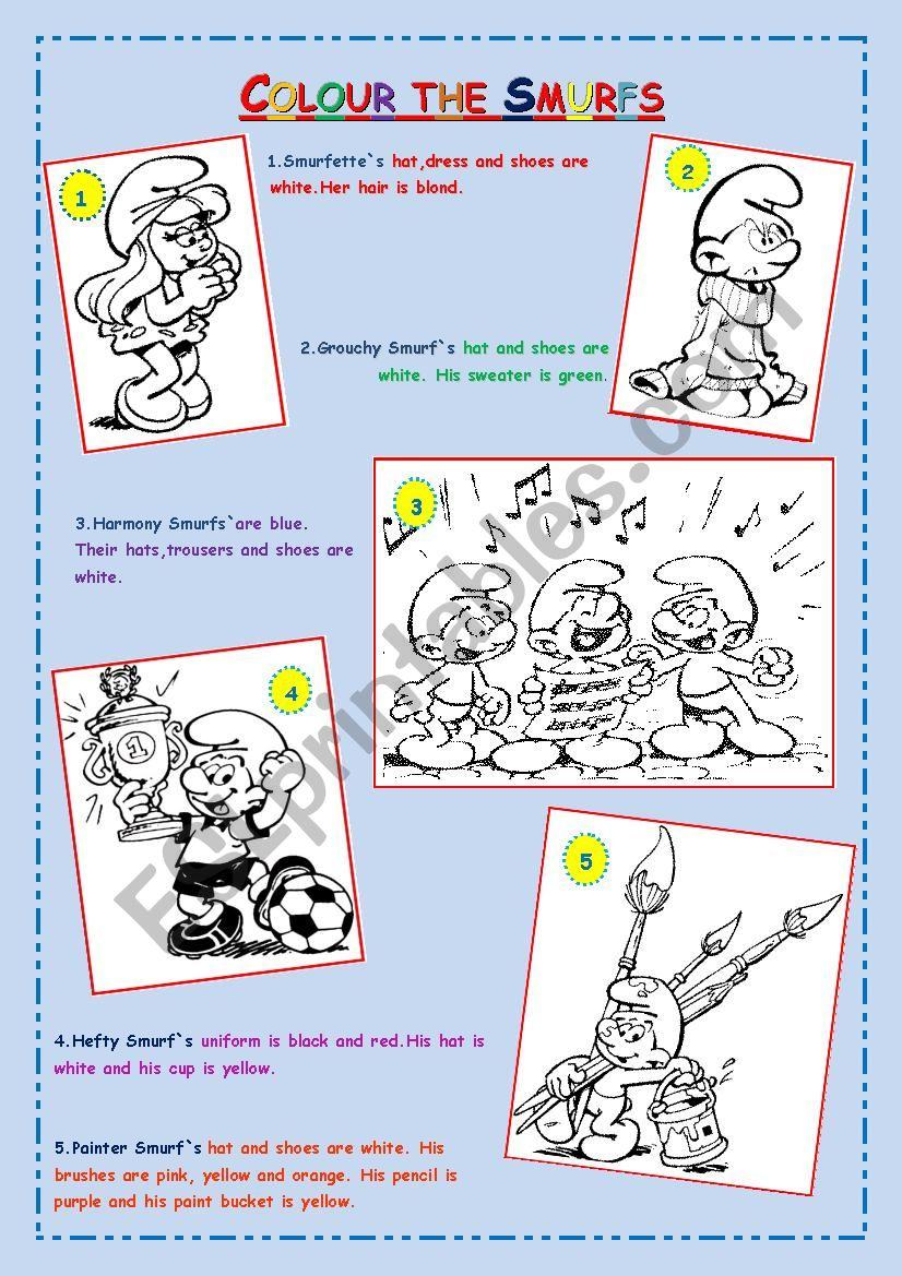 Colour the Smurfs worksheet