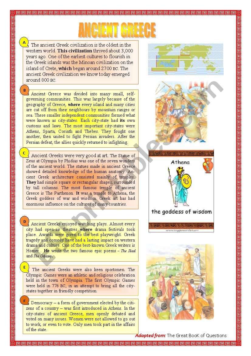 Ancient Greece worksheet
