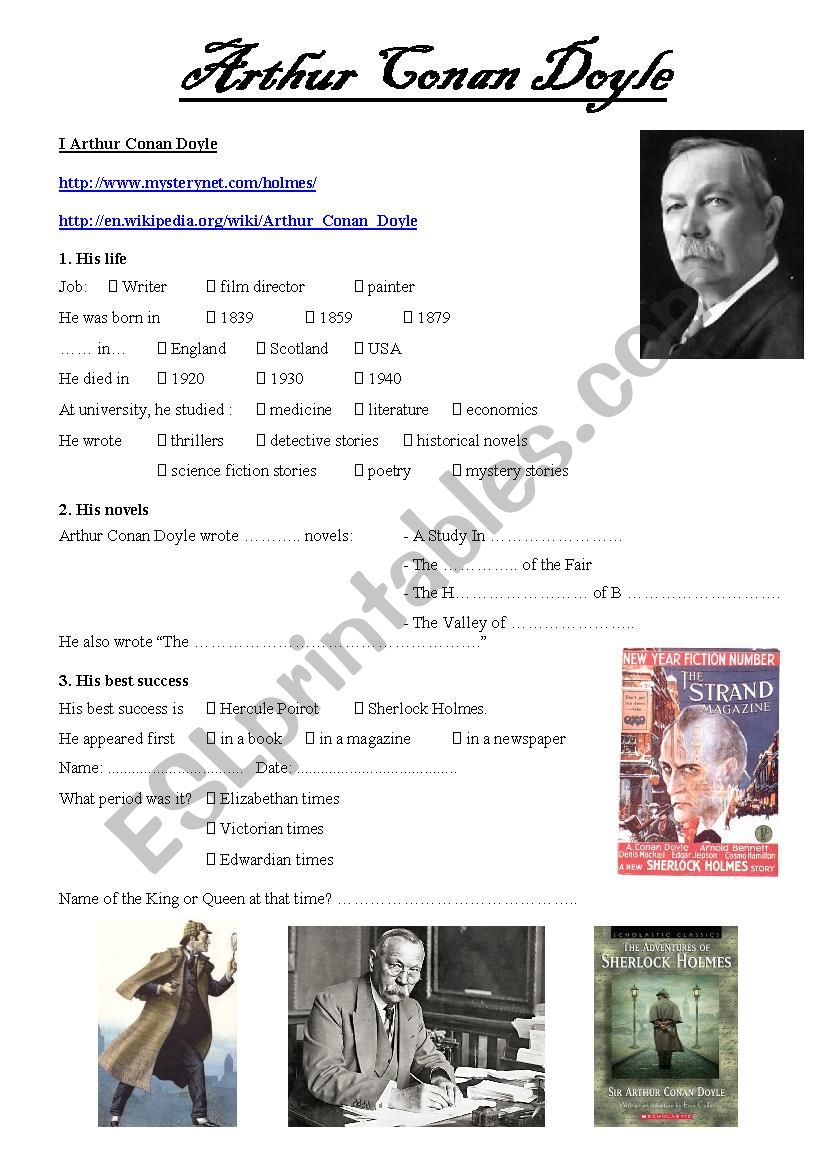 Arthur Conan Doyle webquest worksheet