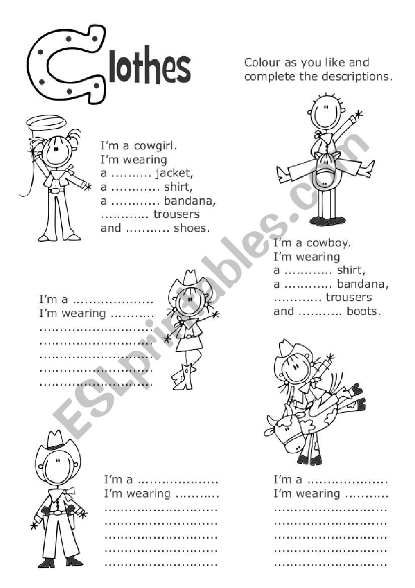 Cowboys and cowgirls worksheet