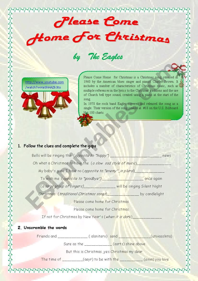 Please Come Home For Christmas Eagles.Please Come Home For Christmas By The Eagles Esl Worksheet