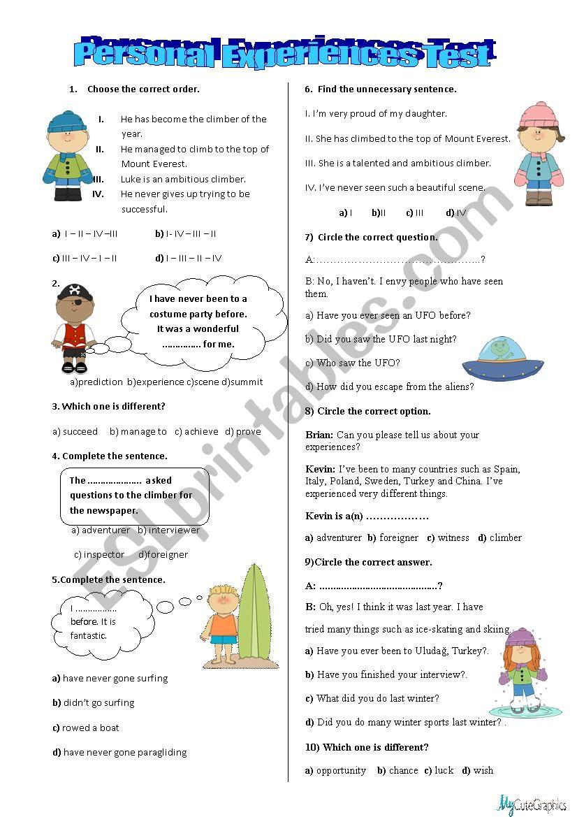 Personal Experiences Test worksheet