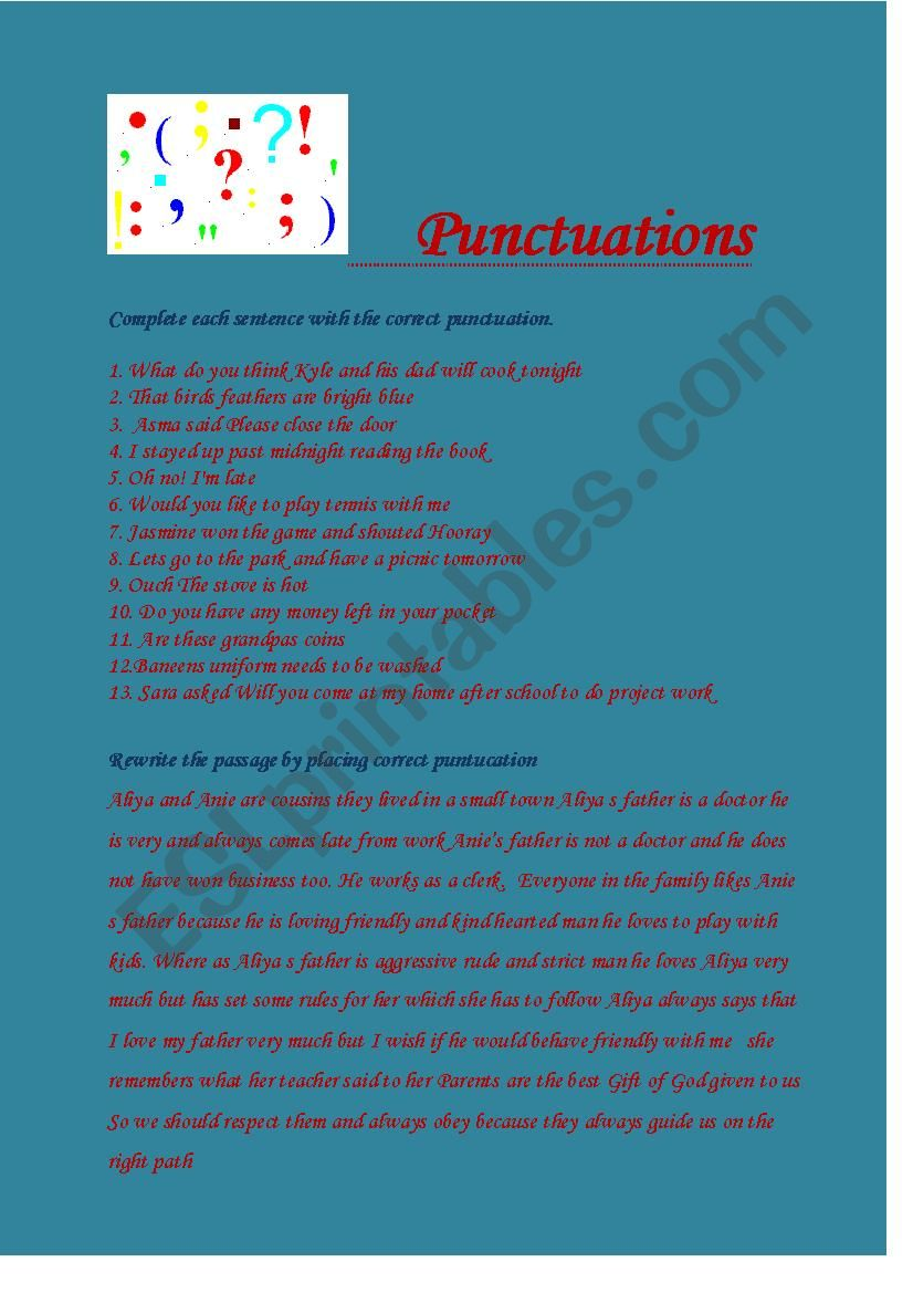 Punctuations worksheet