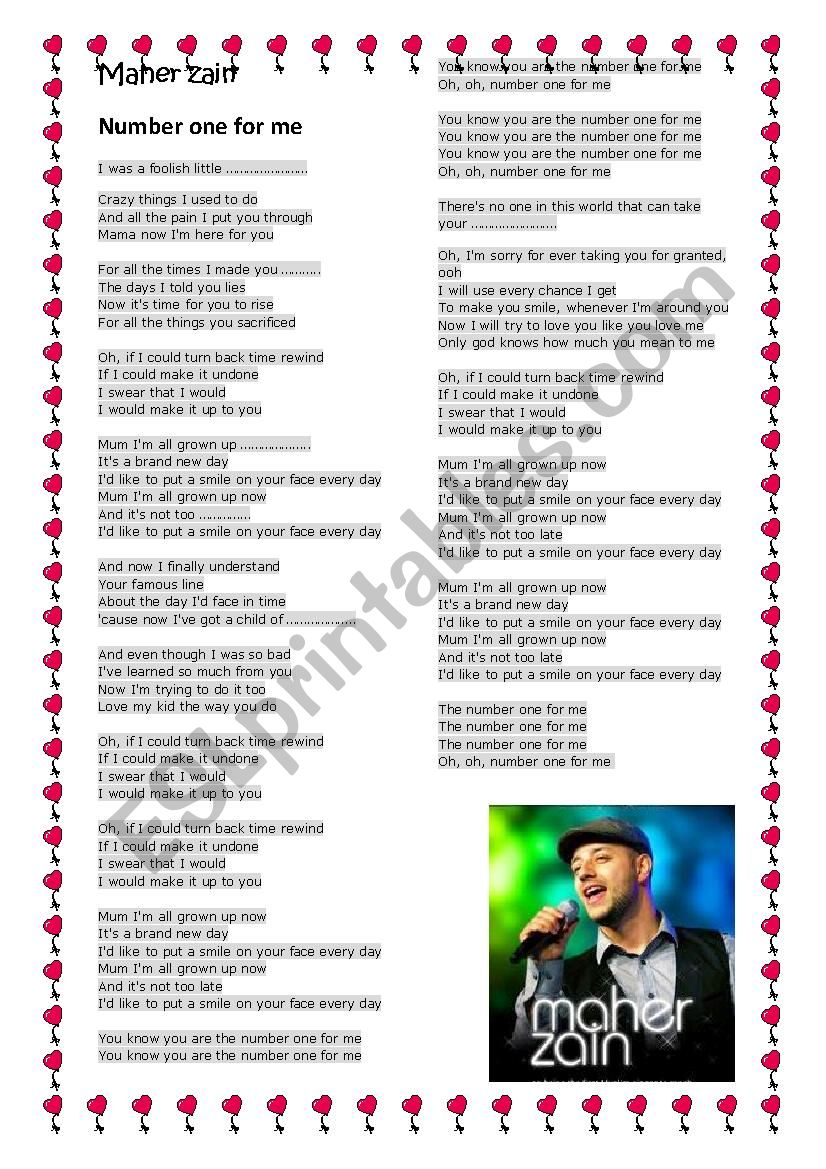 Maher Zain Number one for me song - ESL worksheet by sawsen abid