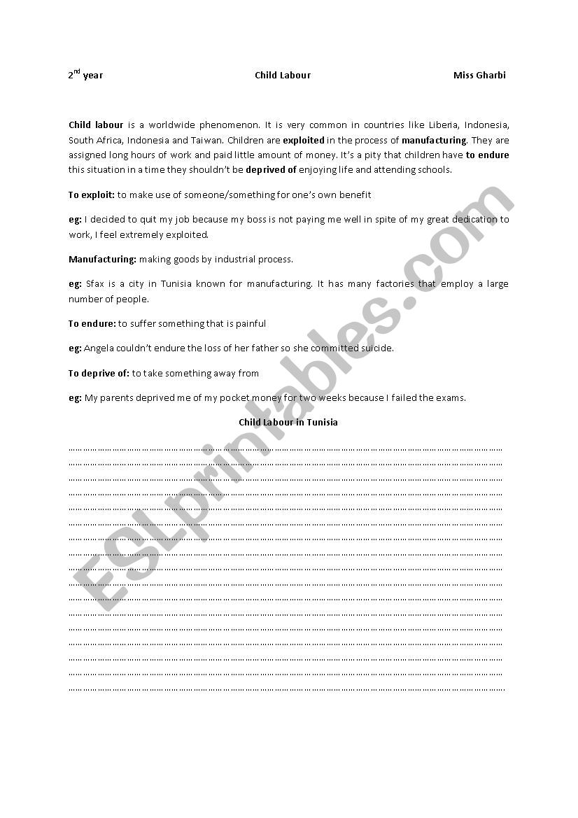Child labour  worksheet