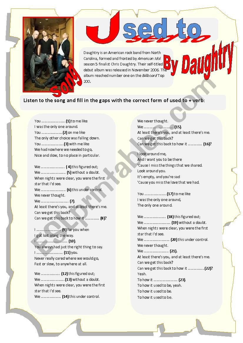Song: Used to by Daughtry worksheet