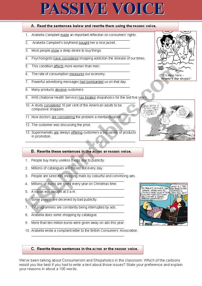 Passive voice and consumerism worksheet