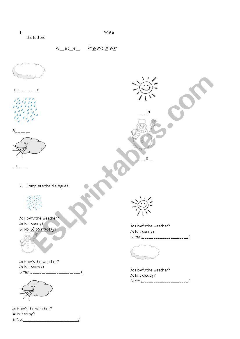 Weather worksheet for kids worksheet