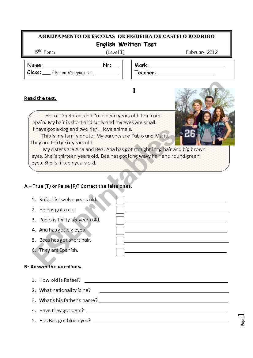 5th grade test on the topic FAMILY