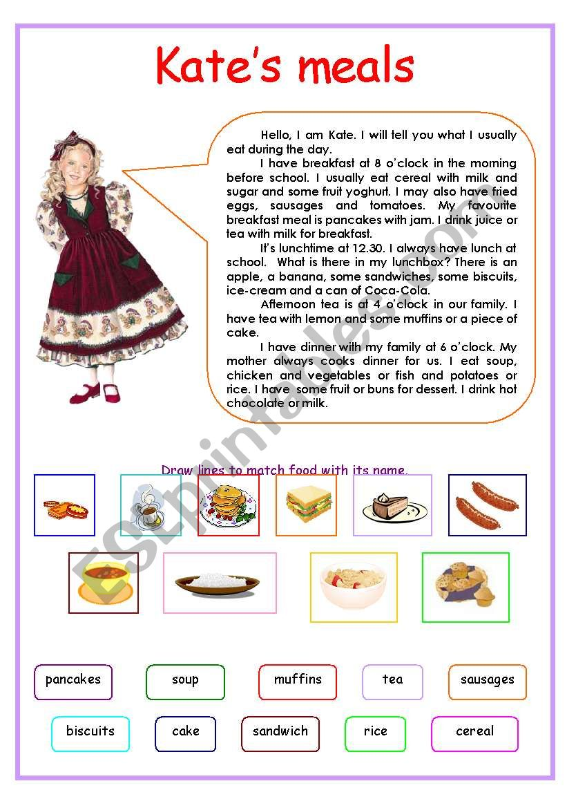 Kate´s meals worksheet