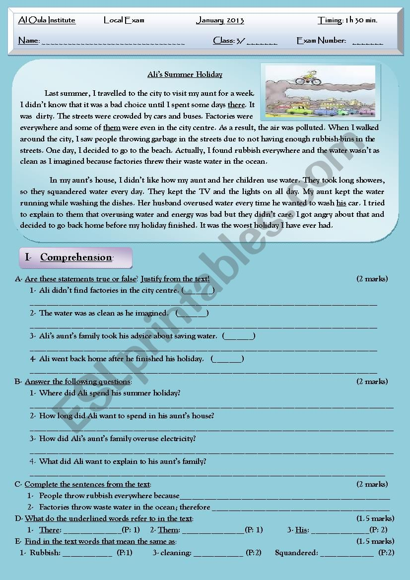 Pollution Reading Test + Comprehension + Language + Writing