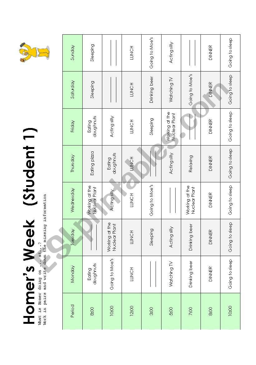 Homer´s Schedule worksheet