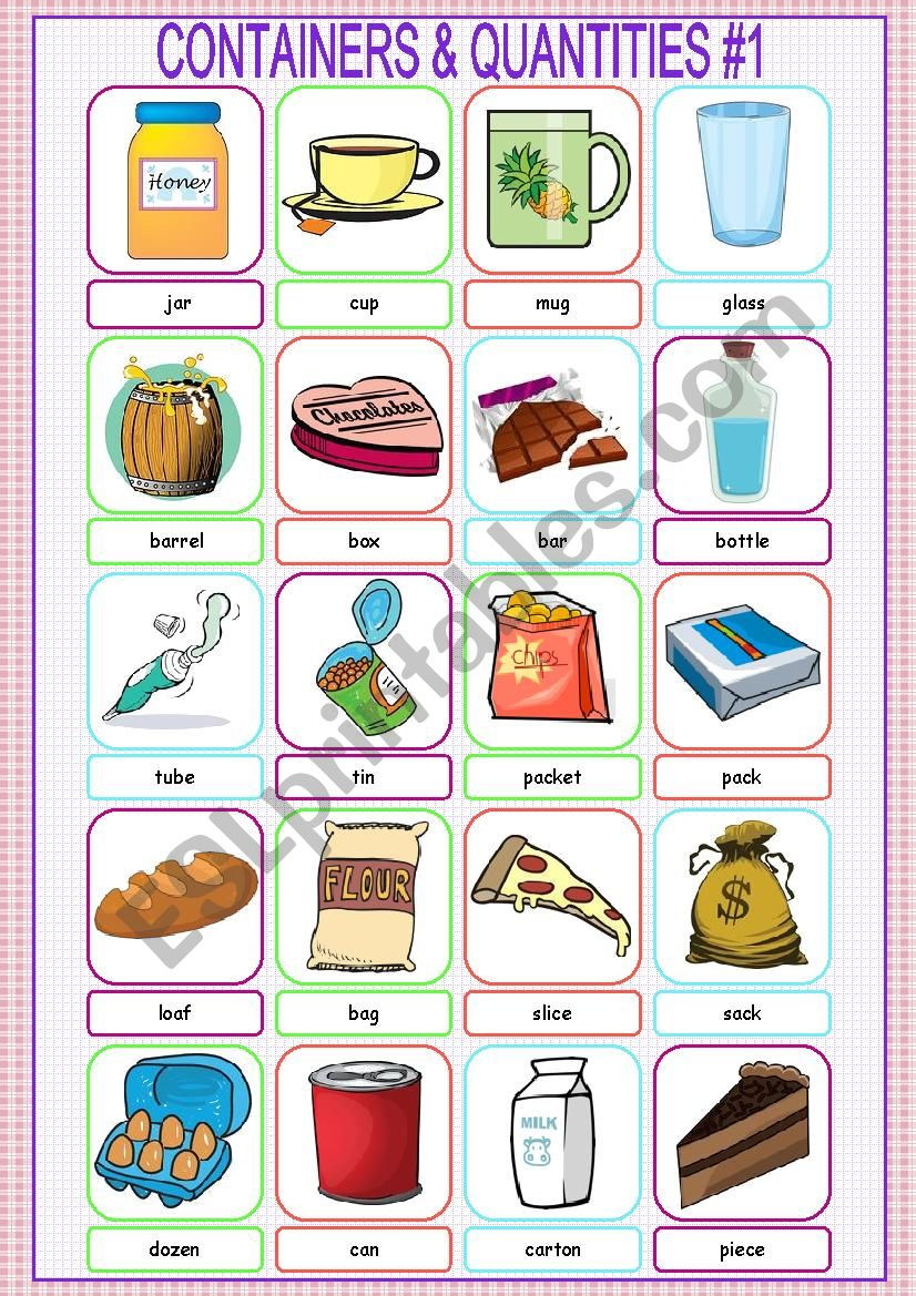 Containers and Quantities Picture Dictionary#1