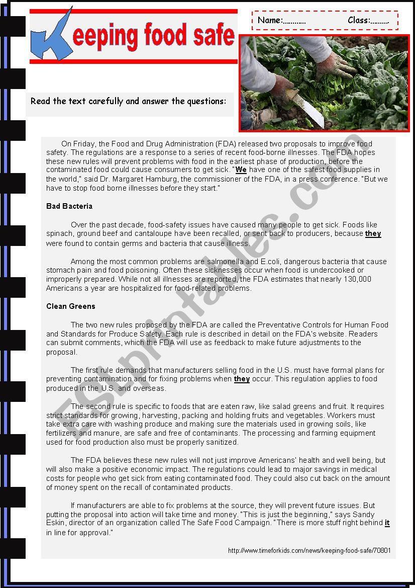 Keeping Food Safe  worksheet