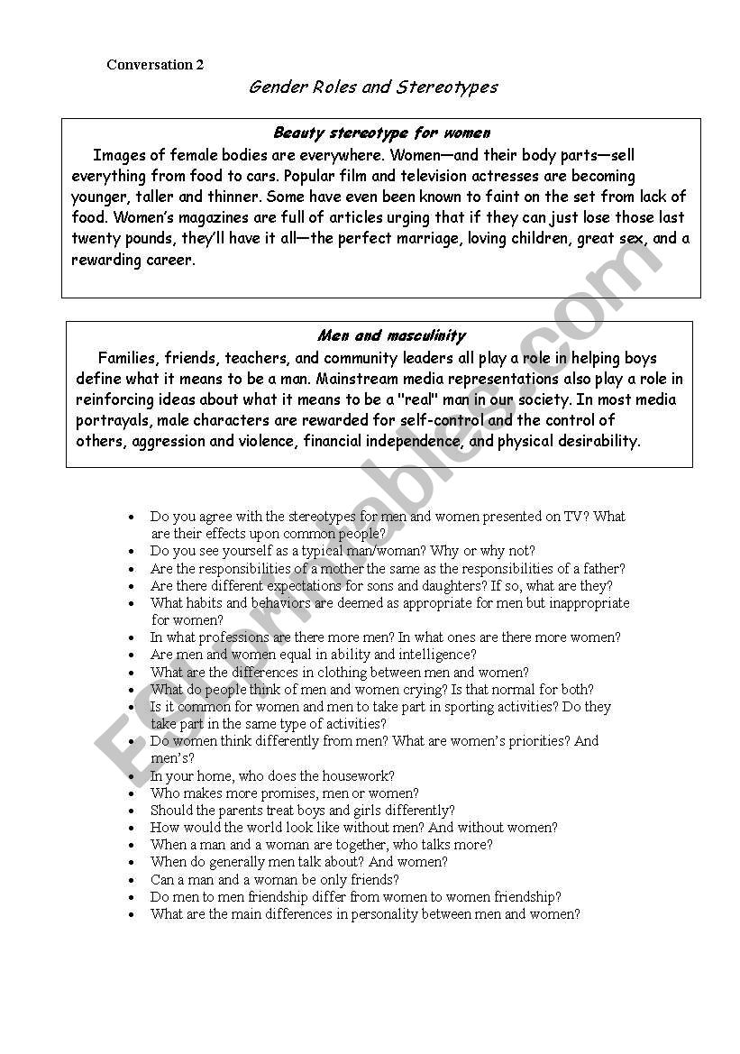 Gender roles and stereotypes worksheet