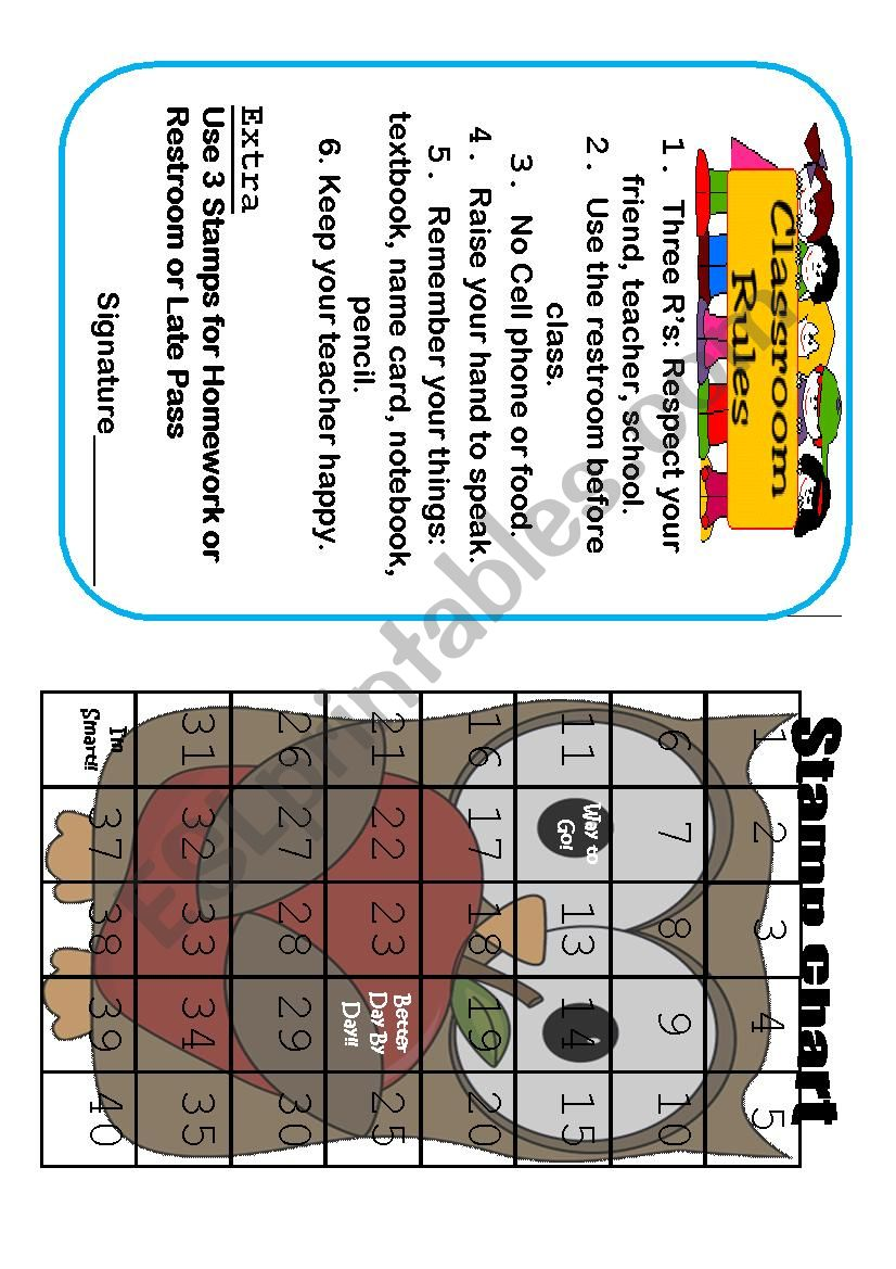 Stamp Board Class Rules worksheet
