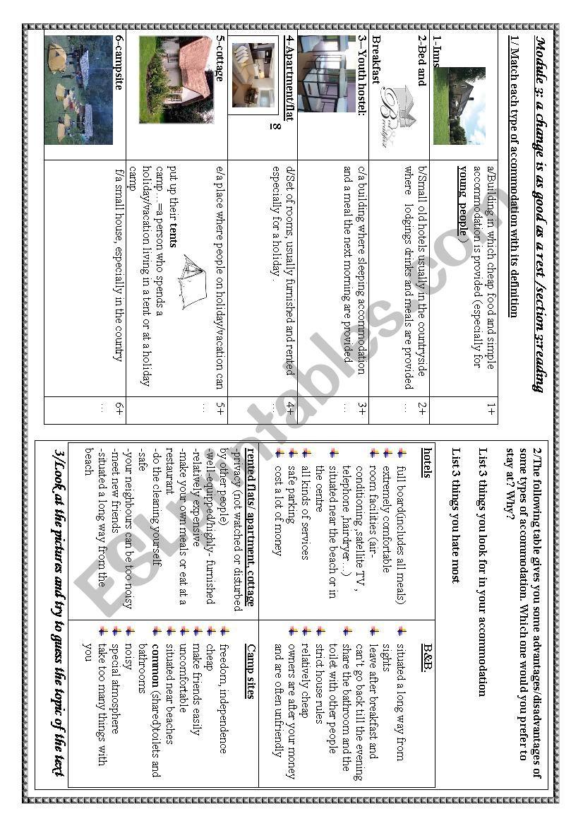 holidays and accommodation worksheet