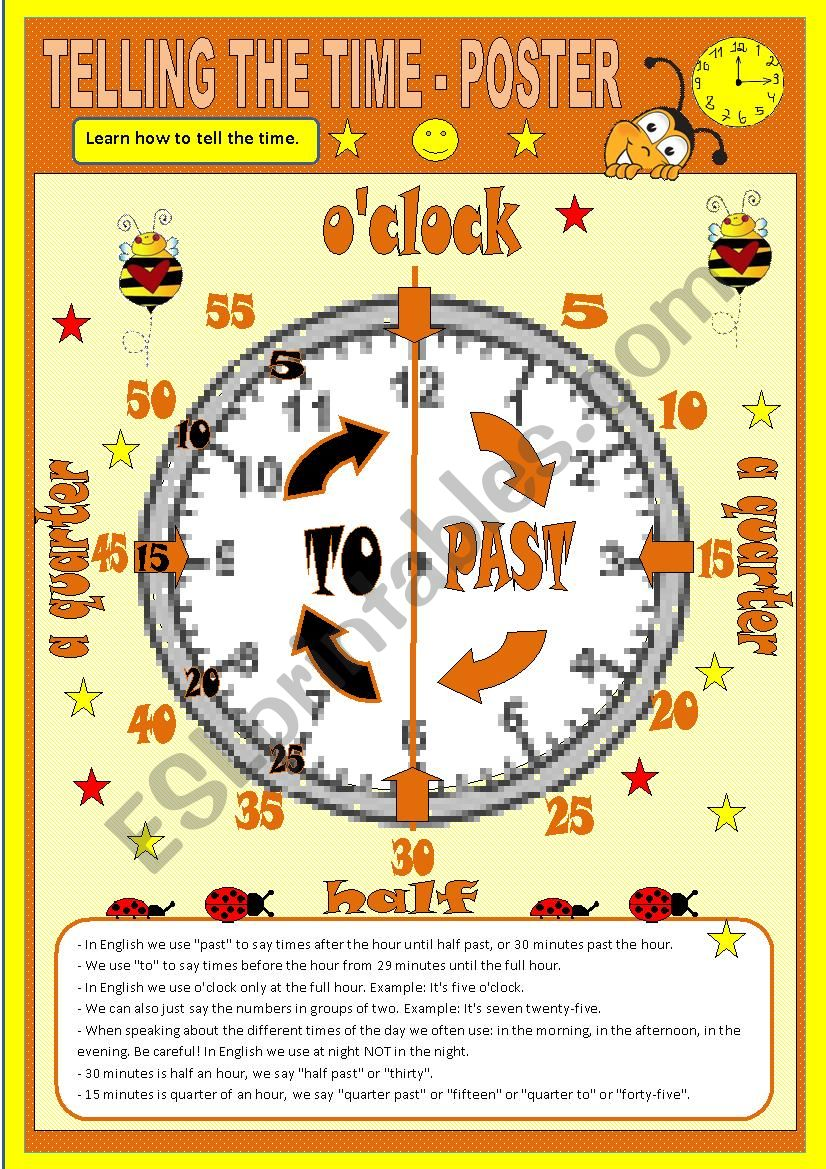 Telling the time - Poster worksheet