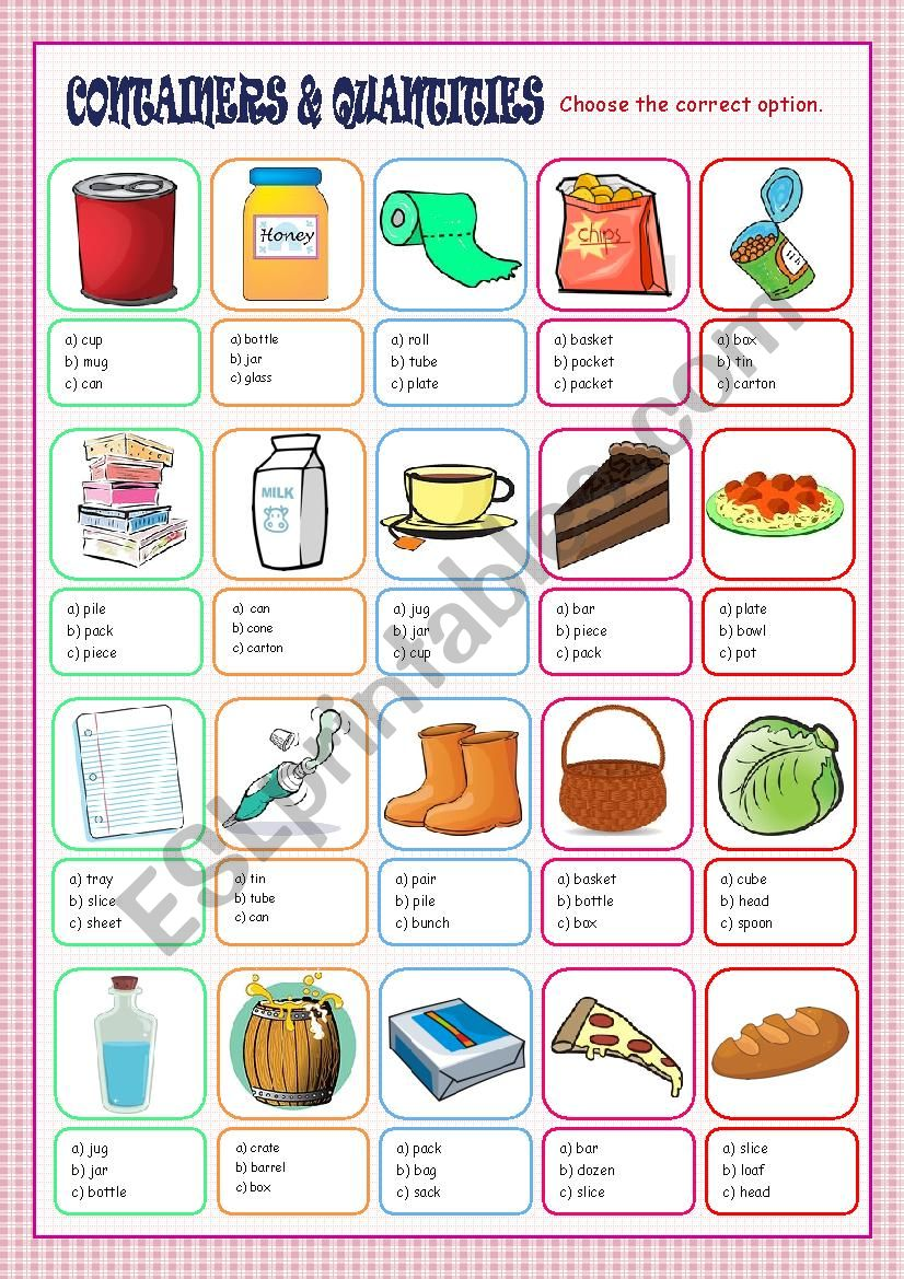 Containers and Quantities Multiple Choice