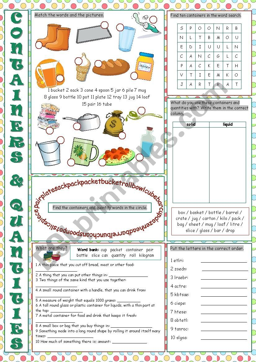 Containers and Quantities Vocabulary Exercises