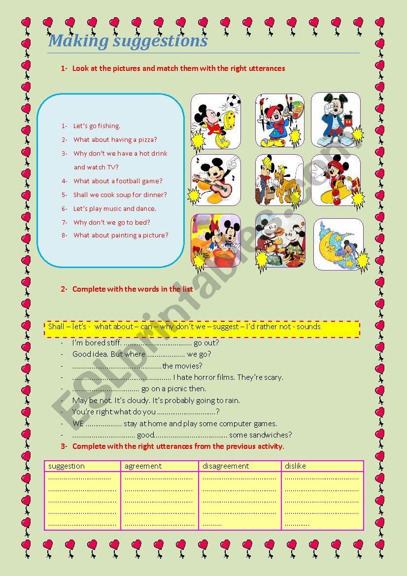 Making suggestion worksheet