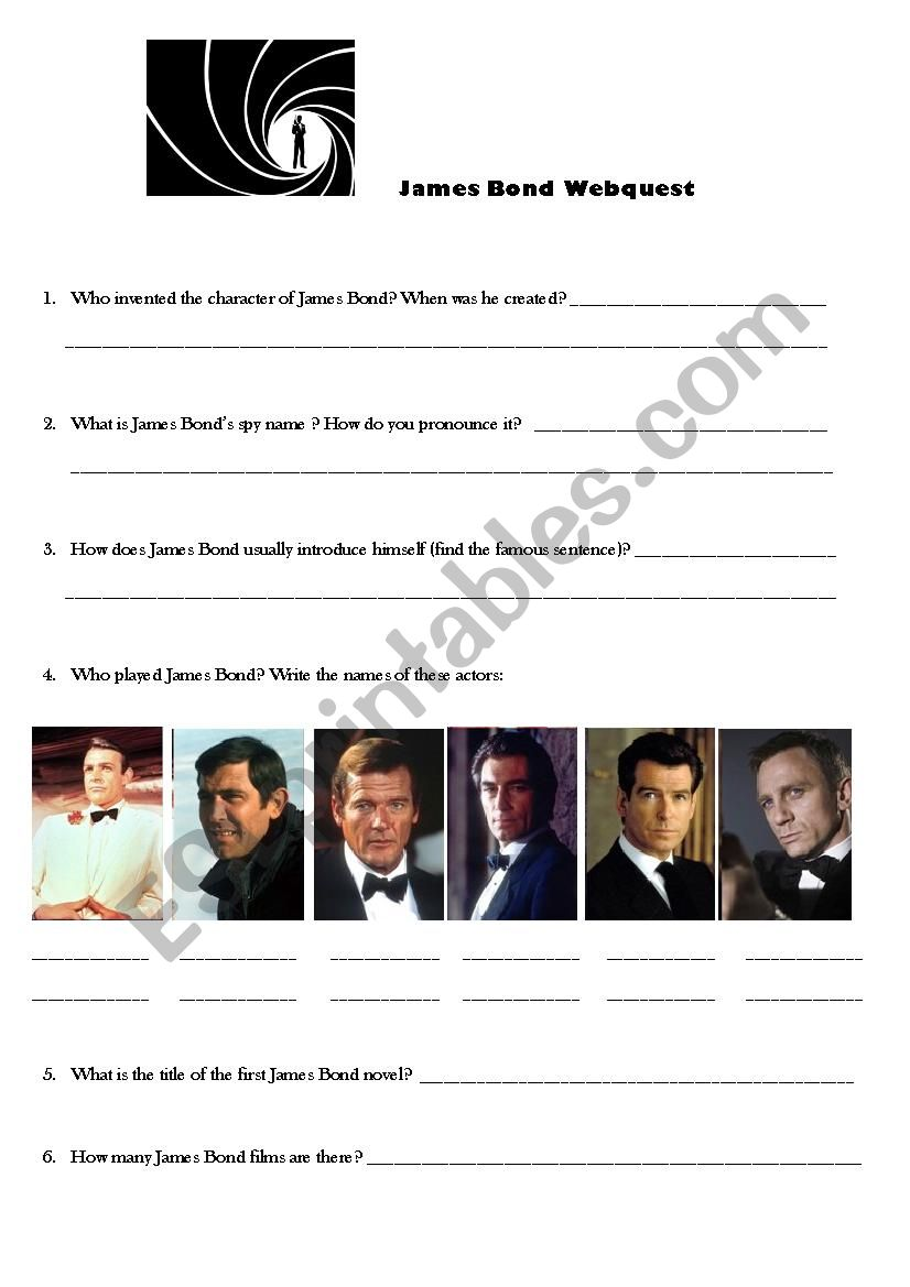 James Bond webquest worksheet