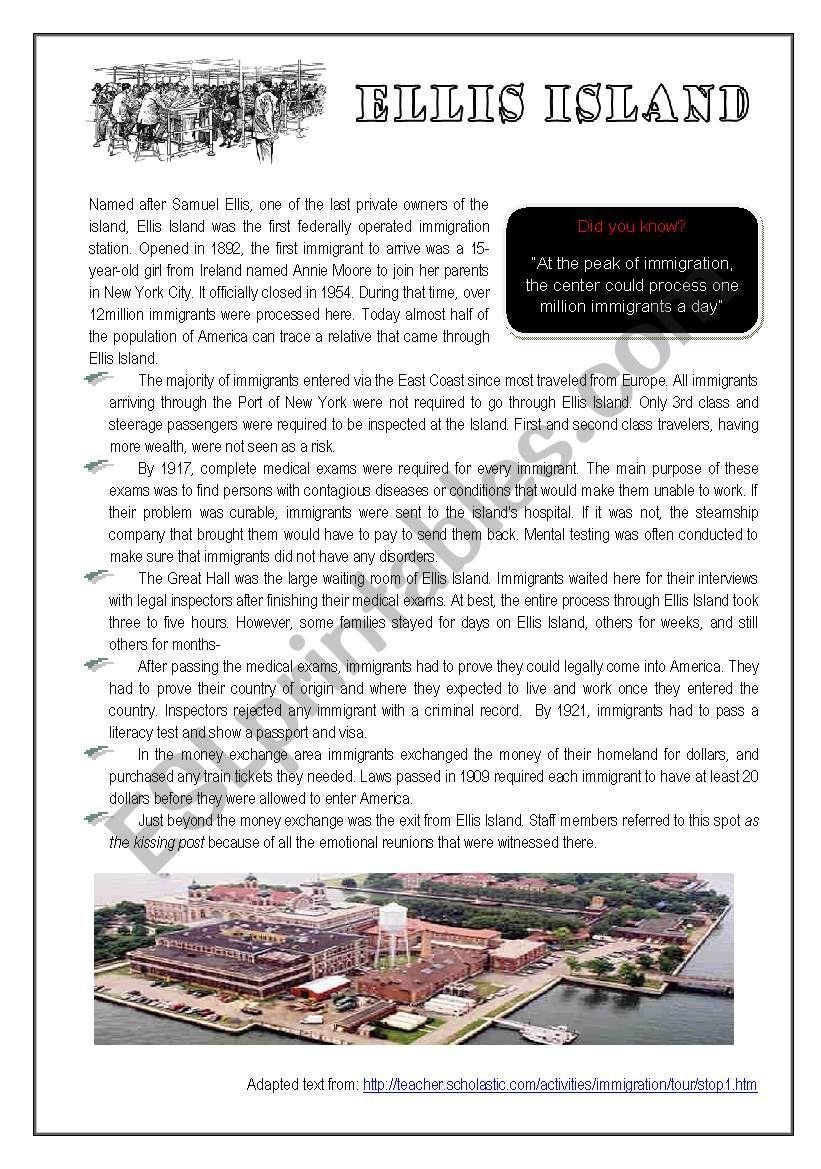 Ellis Island worksheet