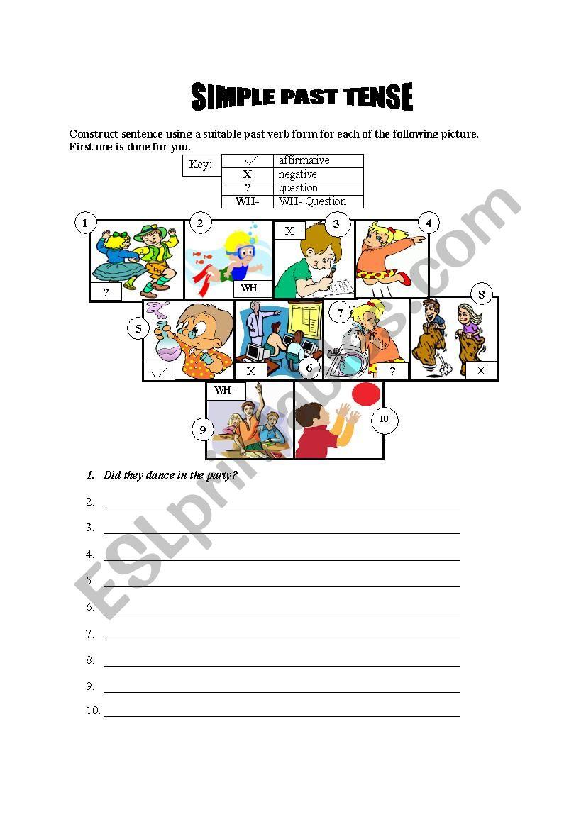Simple Past Tense Types worksheet