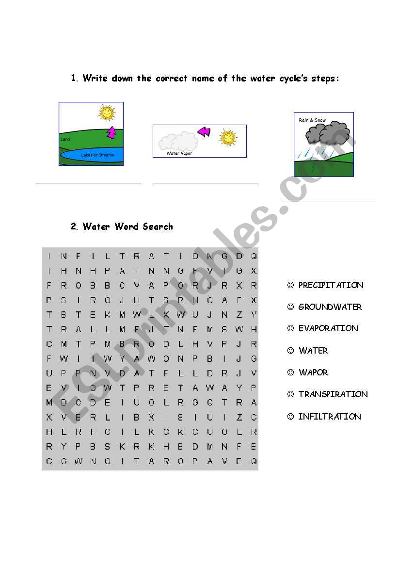 The water cycle - ESL worksheet by mgonzalezechevarria